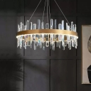 Crystal Rod Gold Chandelier Pendant Circular Minimalist Small/Medium/Large LED Ceiling Suspension Lamp