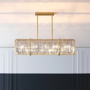 5 Heads Island Lighting Postmodern Rectangle K9 Crystal Prism Hanging Pendant in Gold