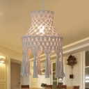 Roped Flared Pendant Light Fixture Cottage 1 Bulb Dining Room Suspension Light with Tassel Knot in Beige