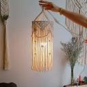 Single-Bulb Pendant Lamp Bohemian Style Handmade Fringe Rope Hanging Ceiling Light in White