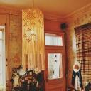 White Tassel Fringe Square Drop Pendant Boho Hand-Wrapped Rope 1 Bulb Girls Bedroom Ceiling Light