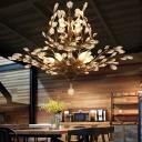 Beveled Cut Crystal Branch Chandelier Rural 4/6/7 Lights Dining Room Ceiling Pendant Lamp in Black/Gold