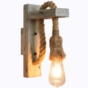 Washed Wood Grey Wall Lighting Right Angle 1-Light Rustic Wall Mounted Lamp with Rope Arm