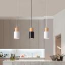 Metal Tubular Hanging Light Fixture Nordic 1-Light Black/Pink/Green and Wood Pendant Lamp for Kitchen