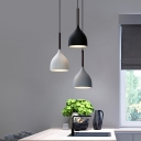 Nordic Teardrop-Like Multi Pendant Metal 3 Bulbs Dining Room Hanging Light with Round/Linear Canopy in Black