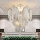 Silver/Gold 2-Layer Tassel Ceiling Light Contemporary Aluminum Chain LED Semi Flush Mount Chandelier, 23.5
