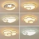 Flower/Moon/Heart Shaped Ceiling Lamp Minimalist Beveled Crystal Clear LED Flush-Mount Light Fixture for Bedroom