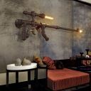Rifle Gun Living Room Wall Light Cyberpunk Wrought Iron 2-Head Rust Wall Mount Lamp with Faux Faucet