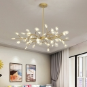 Nordic Leafy/Bubbling Chandelier Lighting Acrylic 30/45/54-Bulb Living Room Ceiling Suspension Lamp in Black/Gold