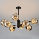 Hand-Blown Grey Glass Ball Chandelier Modern 6/12/16 Heads Black Starry LED Hanging Pendant Light