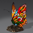 Creative Tiffany Butterfly Night Light 1 Bulb Handcrafted Stained Glass Table Lamp in Yellow