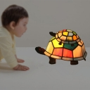Turtle Mom and Baby Table Light Tiffany Stained Glass Single-Bulb White/Red Night Lamp for Nursery
