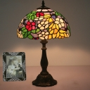 Yellow 1 Head Table Lamp Tiffany Style Dome Flower-Patterned Glass Nightstand Light