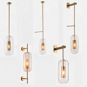 Capsule Wall Sconce Lighting Postmodern Clear Glass Single Bronze/Silver Grey Wall Light with Mesh Screen Inside