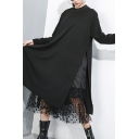 Chic Womens Black Dress Long Sleeve Crew Neck Sheer Mesh Patched Mid A-line Tee Dress