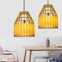 Barrel/Tapered Wooden Pendant Lamp Asian Single-Bulb Beige Pendulum Light over Dining Table