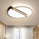 Double Semicircle Flush Ceiling Light Nordic Acrylic Black and White LED Flushmount Lighting in Warm/White Light