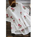 Leisure Women's Blouse Rose Embroidered Round Neck Short Sleeves Pleated Cotton and Linen Peplum Relaxed Fit Pullover Blouse