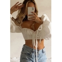 White Pretty Shirt Puff Long Sleeve Sweetheart Neck Bow Tied Fit Cropped Shirt Top for Ladies