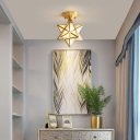 Colonial Style Star Shaped Ceiling Lamp 1 Bulb Rippled Glass Indoor Light Fixture in Gold, Flushmount/Hanging Cord