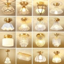 Water Glass Bell/Cone Small Flush Light Antiqued 1-Light Corridor Semi Flush Mount Ceiling Lamp in Gold