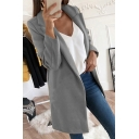 Womens Classic Fashion Plain Grey Notched Lapel Collar Warm Wool Overcoat