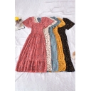 Girls Dress Ditsy Floral Pattern Short Sleeve Square Neck Pintuck Ruffled Mid A-line Pleated Gorgeous Dress