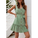 Girls Dress Polka Dot Print Sleeveless V-neck Button Up Bow-tie Waist Ruffled Short A-line Fancy Tank Dress in Green