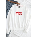 Simple Lazy Letter Print Round Neck Long Sleeve Leisure Pullover Sweatshirt