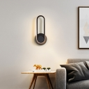 Oblong Metal Wall Mounted Lamp Simple Black/White/Gold LED Sconce Light Fixture in Warm/White/3 Color Light