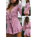Fancy Ladies Romper Ditsy Floral Dress Short Sleeve Deep V-neck Tied Front Cut Out Relaxed Romper in Pink