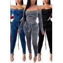Elegant Womens Plain Jumpsuit Velvet Long Sleeve Off the Shoulder Lace-up Front Ankle Tight Jumpsuit