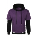 Cool Simple Letter Printed Colorblocked Cotton Fake Two-Piece Hoodie