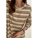 Leisure Women's Tee Top Stripe Pattern Round Neck Long Sleeves Relaxed Fit Tunic T-Shirt