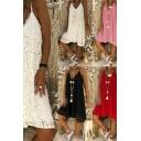 Pretty Dress Lace Deep V-neck Short A-line Cami Dress for Ladies
