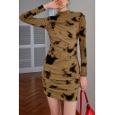 Leisure Women's Dress Bodycon Dress Color Paint Printed Mock Neck Ruched Detail Long Sleeves Mini Bodycon Dress