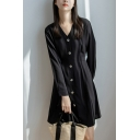 Trendy Women's A-Line Dress Solid Color Button Closure V Neck Long Sleeves Short A-Line Dress