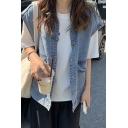 Cool Vest Sleeveless Spread Collar Button Up Loose Fit Denim Blue Vest for Girls