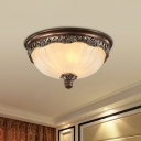 3/4-Head Frosted Rib Glass Ceiling Light Retro Brown Dome Small/Large Bedroom Flush Mounted Lamp