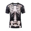 Street Mens T Shirt Skeleton 3D Pattern Short Sleeve Crew Neck Regular Fit Tee