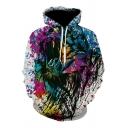Designer Mens Hoodie Colorful 3D Printed Long Sleeve Drawstring Loose Fit Hoodie with Pocket in Black