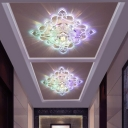 Crystal Square LED Ceiling Lamp Modernity Clear Flush Mounted Light in Purple/Blue/Multi-Color Light, 3/5w