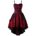 Retro Womens Dress Lace Patched Patterned Sweetheart Neck Lace Up Front Mid Pleated Flared Cami Dress
