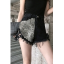 Trendy Womens Shorts Rivet Embellished High Waist Cut Out Tassel Relaxed Denim Shorts