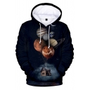 Creative Fashion Black Starry Sky Planet House 3D Printed Drawstring Hooded Long Sleeve Casual Loose Hoodie
