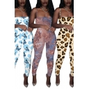 Trendy Women's Jumpsuit Leopard Butterfly Graphic Pattern Spaghetti Strap Sleeveless Slim Fitted Jumpsuit