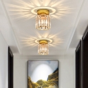 Postmodern Round/Square Small Ceiling Light Prismatic Crystal 1-Head Corridor Flush Mount Lamp in Gold