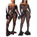 Party Womens Set Semi-sheer Mesh Stripe Floral Polka Dot Print Bodysuit & Pants Set
