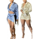 Womens Popular Set Printed Long Sleeve Notched Collar Tied Front Shirt & Skirt Set