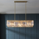 Minimalist Rectangular Island Lamp Clear Crystal 4 Bulbs Dining Room Suspension Light in Black/Gold